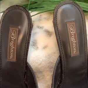 Brighton Shoes - Brighton Parker Chocolate Crock Open Toe Slides